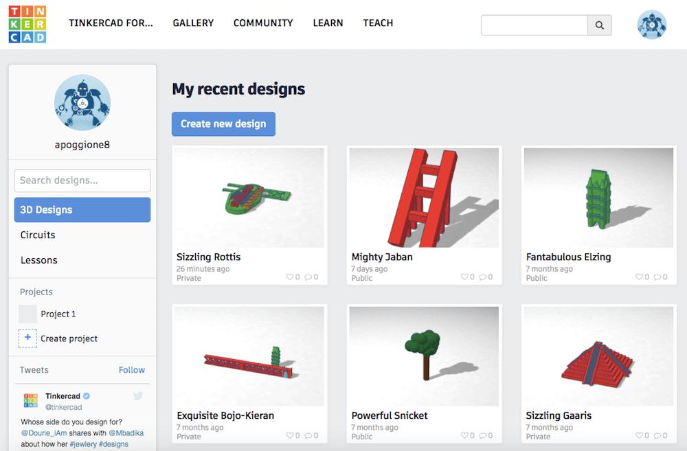 Tinker CAD Landing