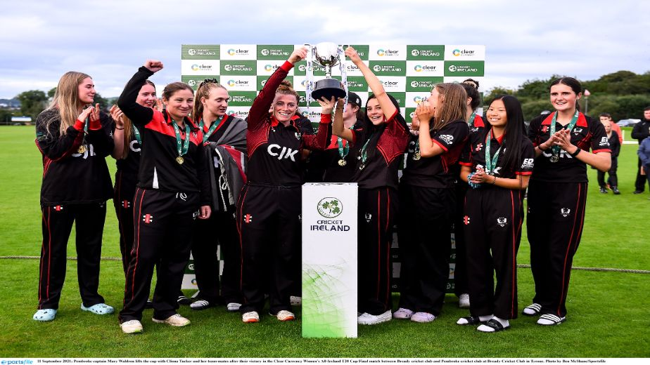 Pembroke Cricket Club lift the women's Clear Currency All-Ireland T20 Cup