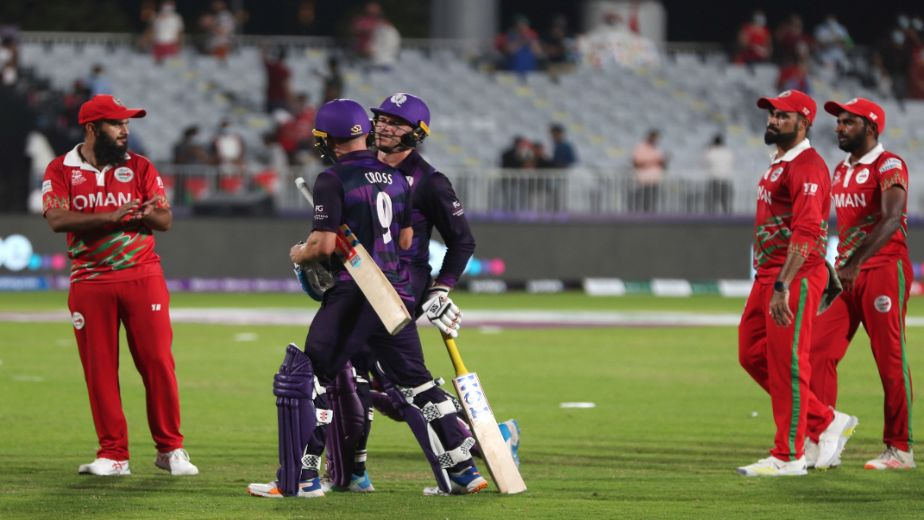 Scotland defeat Oman by eight wickets to progress into T20 World Cup Super 12s
