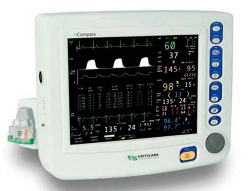 Criticare nCompass 81H031PD Vital Signs Monitor w/ 3 Channel IBP, CO2 & Printer