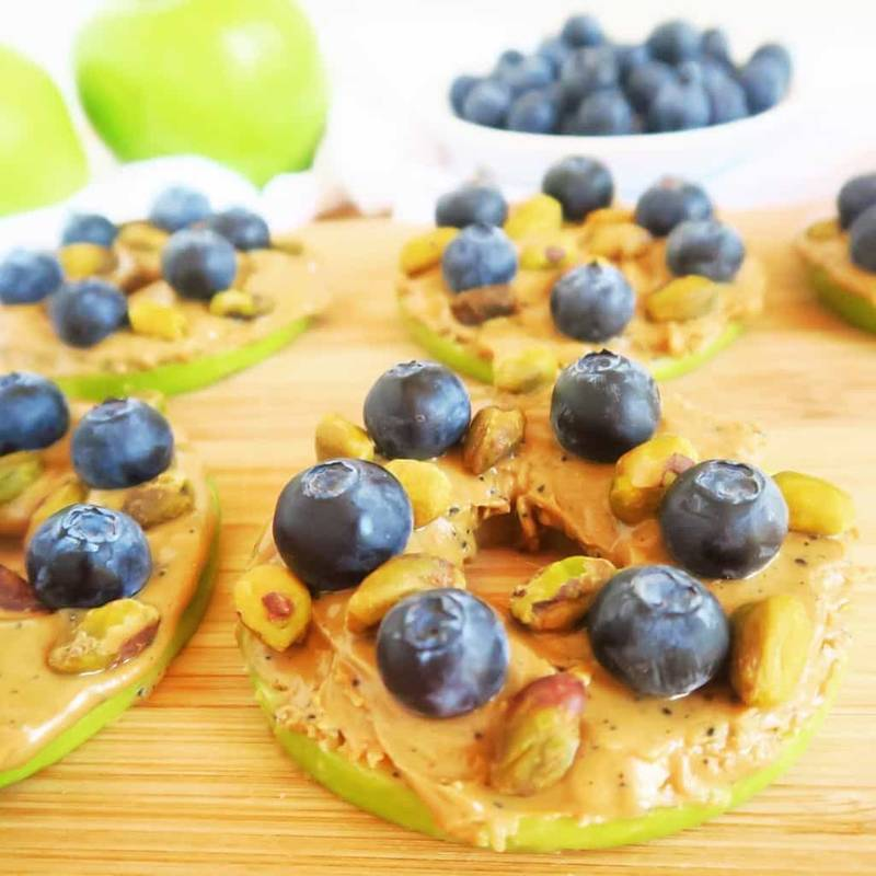 Apple Sandwich with Almond Butter, Blueberries & Pistachios (Paleo, Low Carb)