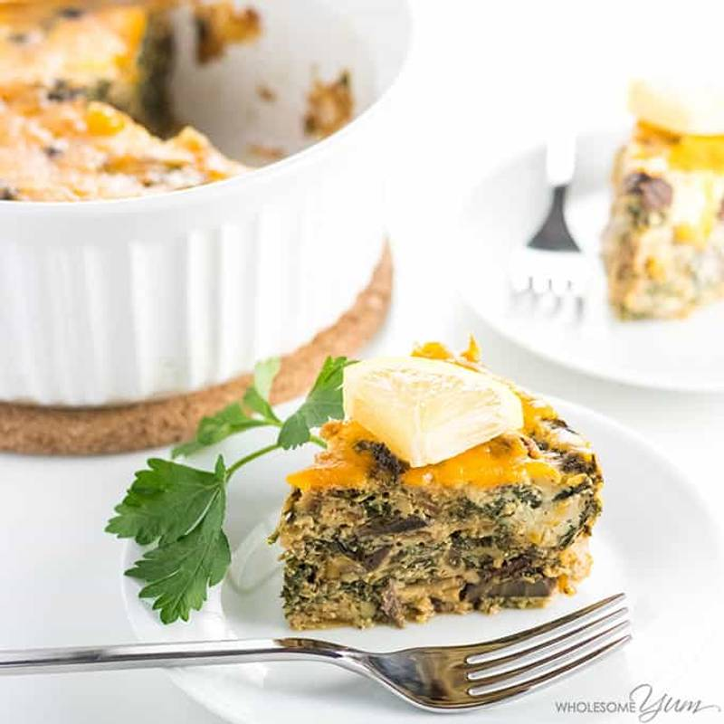 Caramelized Onion, Mushroom and Kale Quiche Without Crust