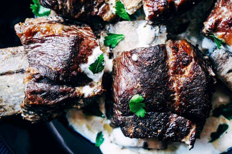 Crockpot Beef Short Ribs Recipe with Creamy Mushroom Sauce [Low Carb, Keto]