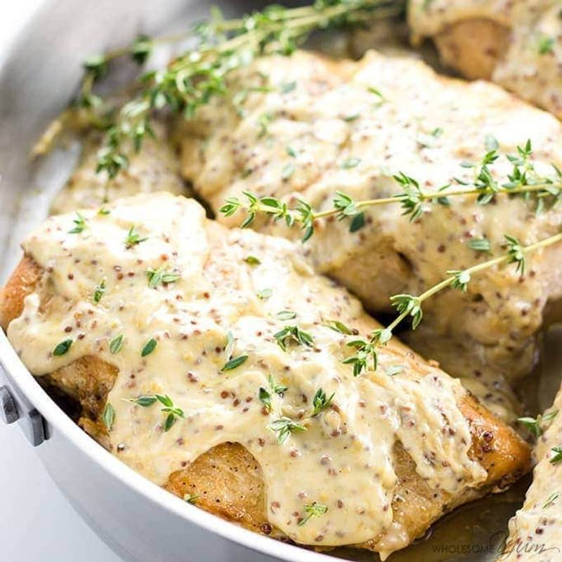 Pan Seared Chicken Breast Recipe with Mustard Cream Sauce (Low Carb, Gluten-free)