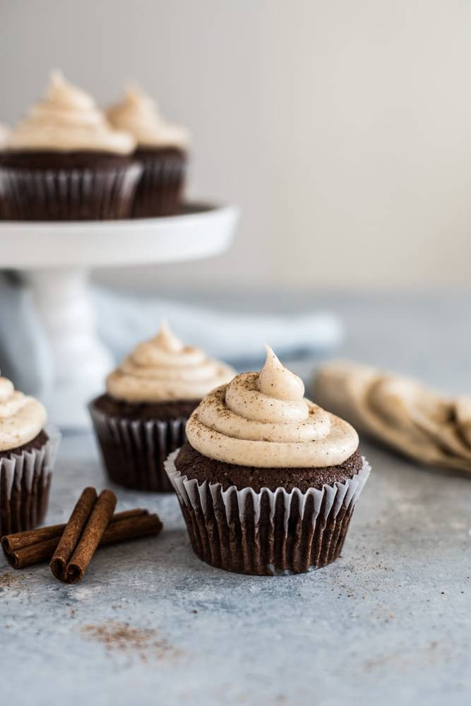 Cherry Chocolate Cupcakes with Cinnamon Cream Cheese Frosting