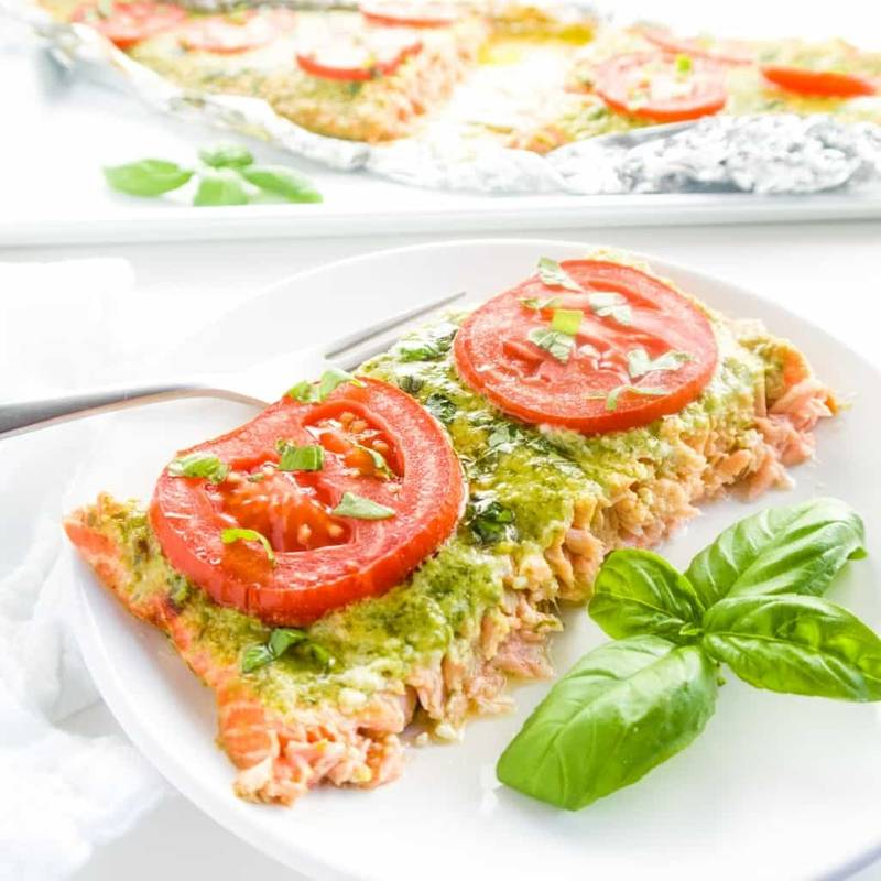 Pesto Salmon Milano (Low Carb, Gluten-free) - 4 Ingredients