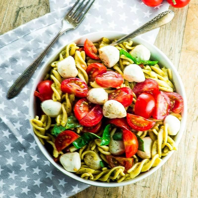 High Protein Caprese Pasta Salad