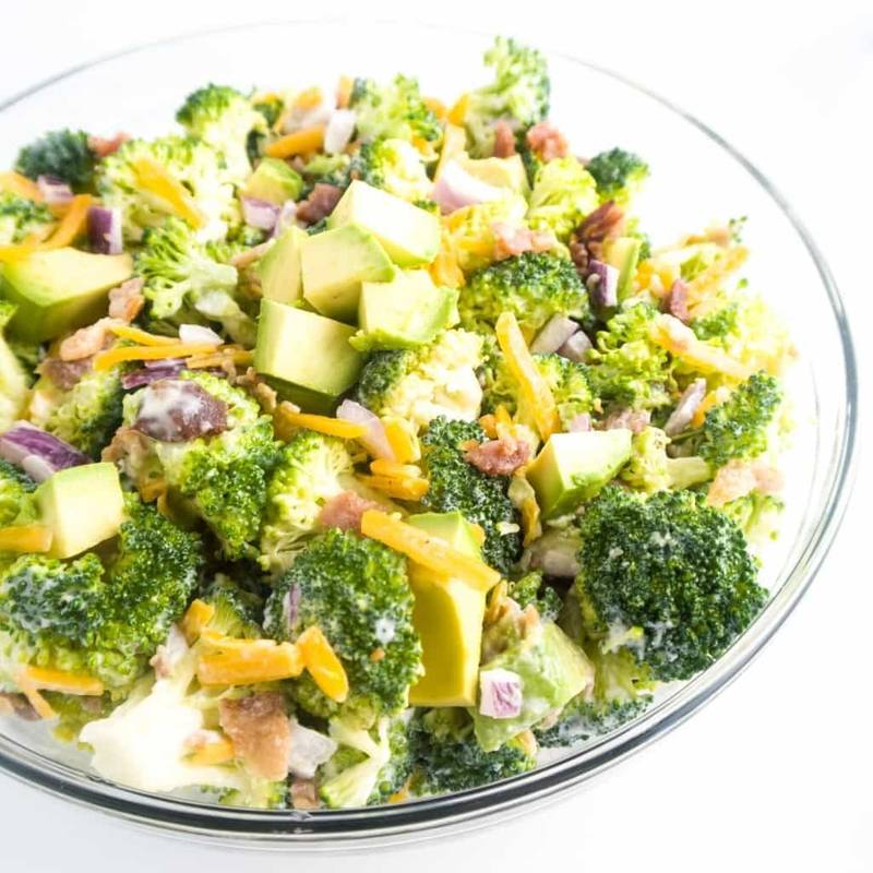 Low Carb Broccoli Salad with Bacon & Avocado (Gluten-free)