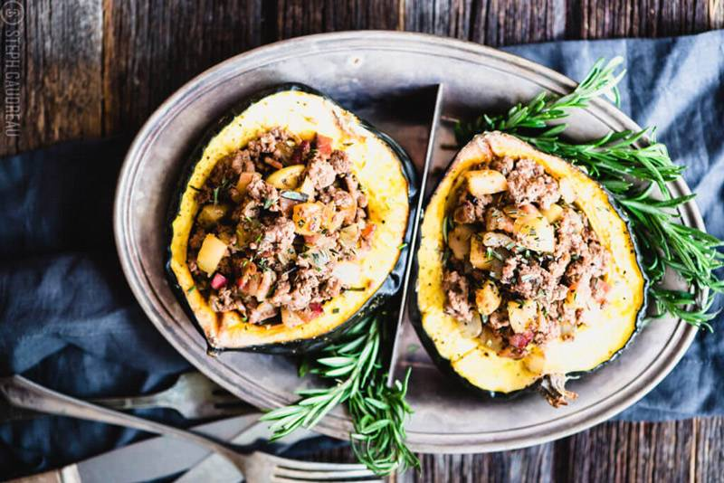 Paleo Stuffed Acorn Squash (Gluten-Free, Whole30)