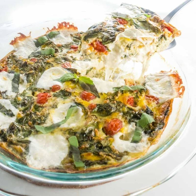 Low Carb Crustless Quiche Caprese (Gluten-Free)