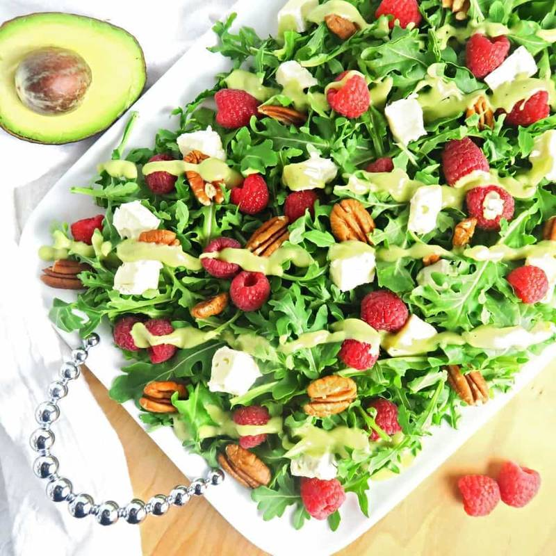 Raspberry Salad with Brie & Creamy Avocado Dressing (Low Carb, Gluten-free)