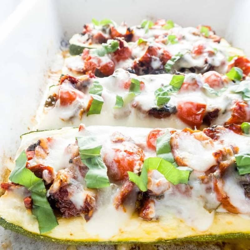 Zucchini Bruschetta Boats (Low Carb, Gluten-Free)
