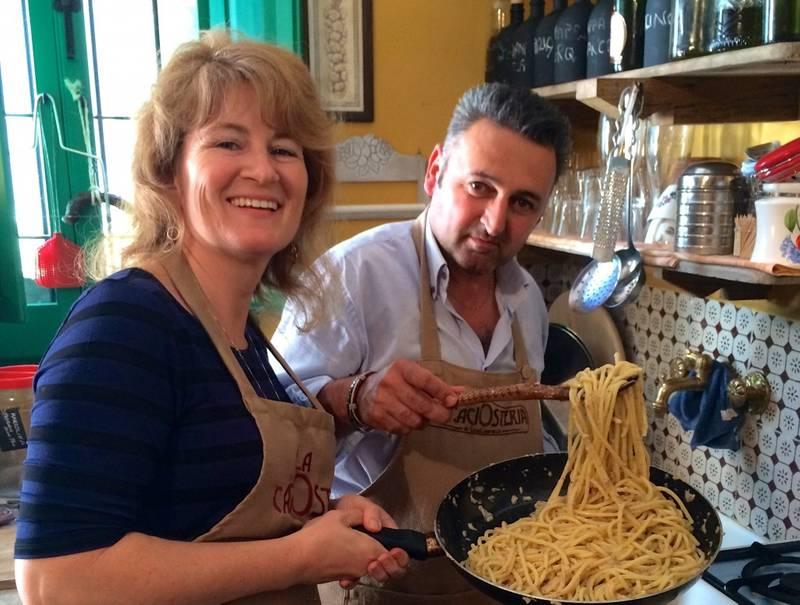 Casa Lawrence and afor Spaghetti Cacio e Pepe (Spaghetti with Pecorino Cheese and Black Pepper)