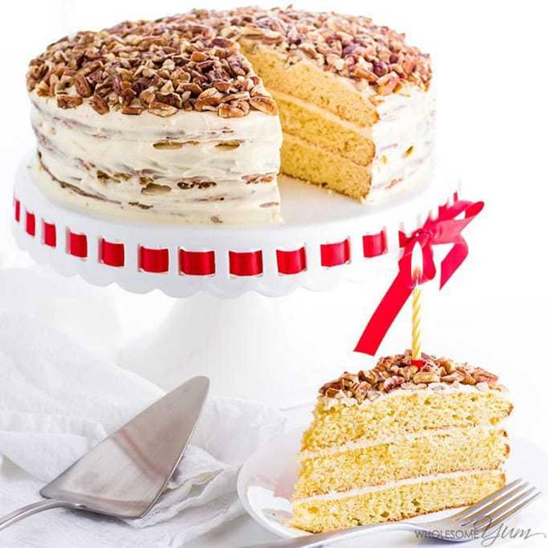 Vanilla Gluten-Free Keto Birthday Cake Recipe - Sugar Free