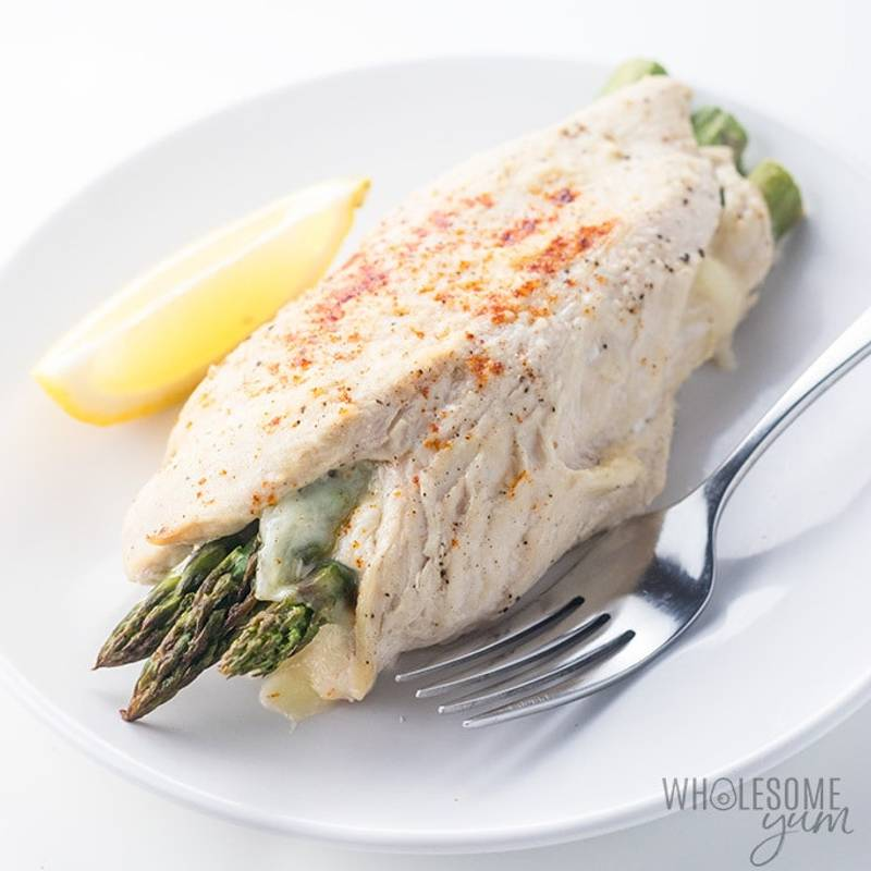 Healthy Asparagus Stuffed Chicken Recipe with Provolone