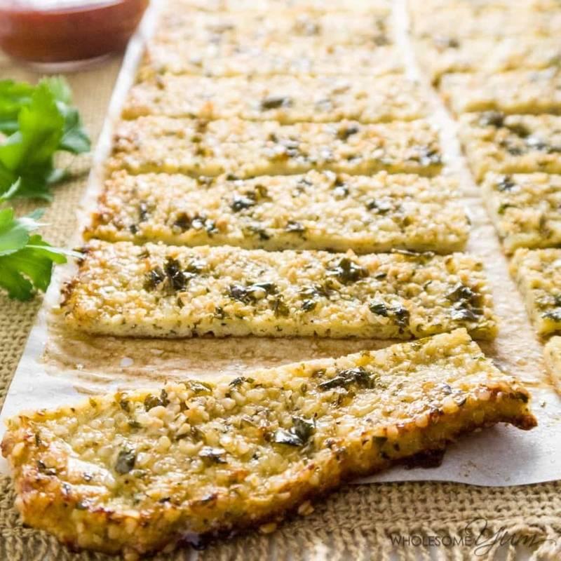 Low Carb Cauliflower Breadsticks with Garlic Butter & Hemp Seeds (Paleo, Gluten-free)