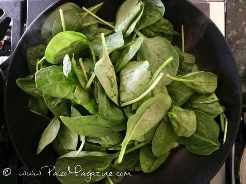 Keto Garlic Spinach Saute [AIP, Paleo]