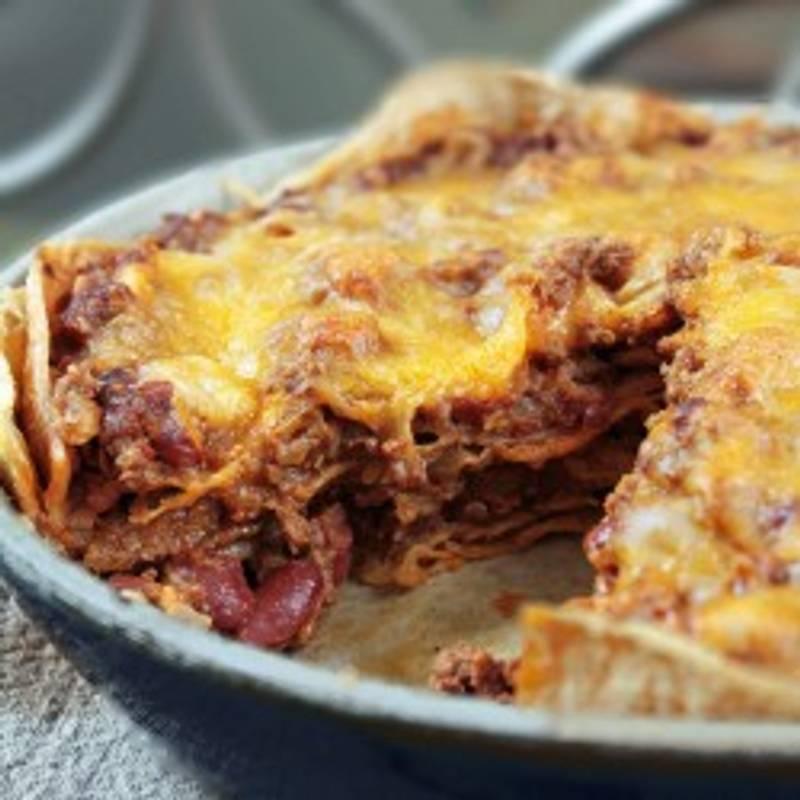 Cheesy Chorizo Enchilada Pie