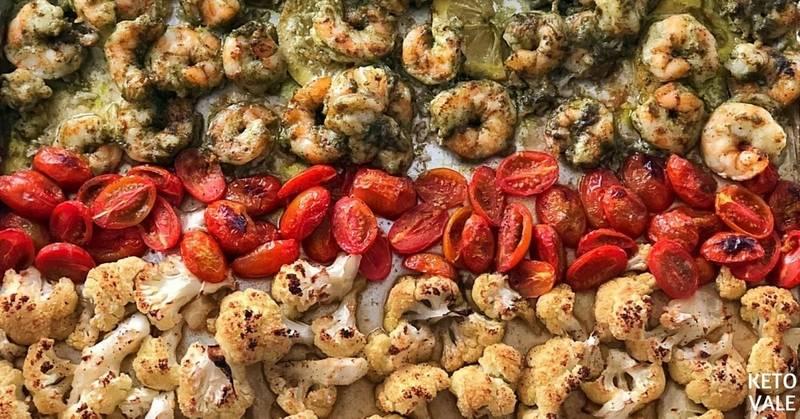 Baked Pesto Shrimp with Cauliflower