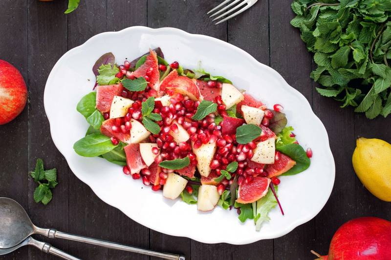 Apple, Grapefruit, Pomegranate Salad