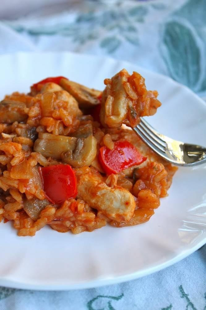 Mediterranean Chicken, Mushrooms and Rice