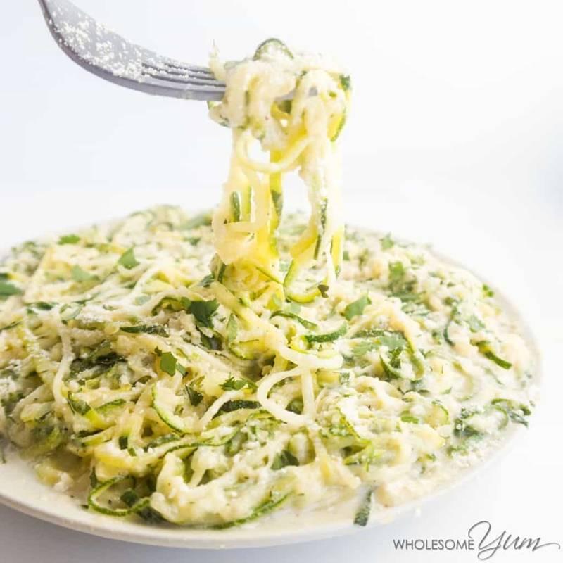 Zucchini Noodles Recipe with Healthy Alfredo Sauce (Zucchini Alfredo)