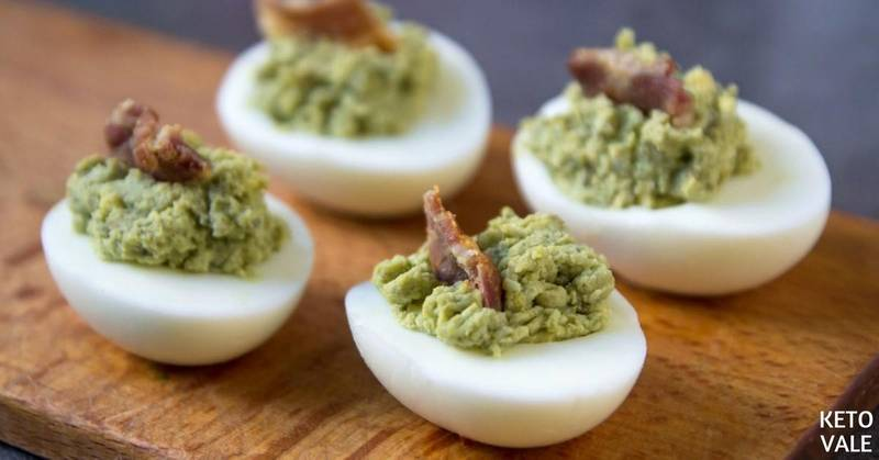 Avocado Deviled Eggs with Bacon