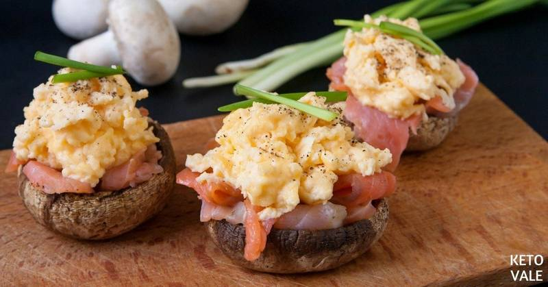 Smoked Salmon Egg Stuffed Mushroom