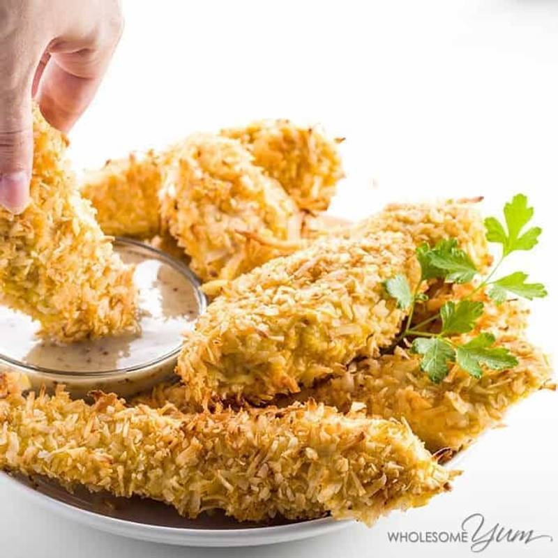 Easy Baked Coconut Chicken Tenders Recipe - Paleo & Low Carb