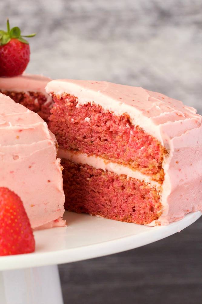 Vegan Strawberry Cake with Strawberry Frosting