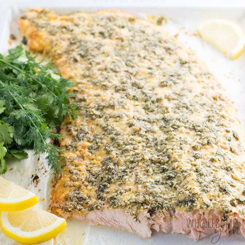 Baked Lemon Herb Parmesan Crusted Salmon Recipe