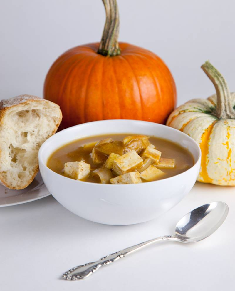 Hearty Pumpkin Potato Soup with Tofu