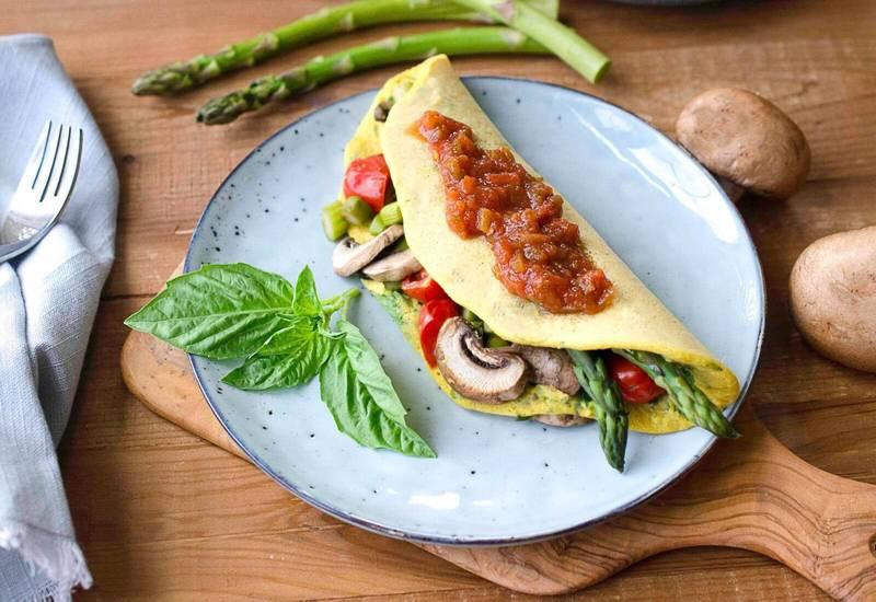 Leftover Veggie Chickpea Omelette