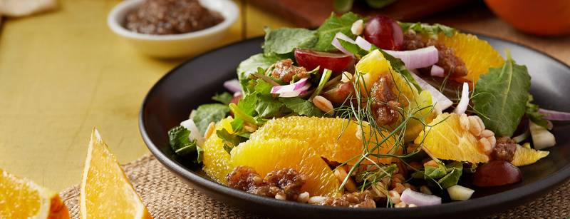 Baby Kale Salad with Farro, Grapes, and Oranges