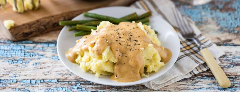 Heather's Garlic Mashed Potatoes and Creamy Golden Gravy