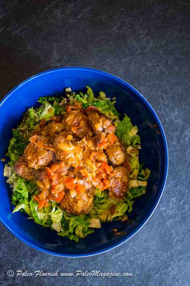 Keto Creamy Meatballs Recipe with Fried Cabbage [Paleo, AIP]