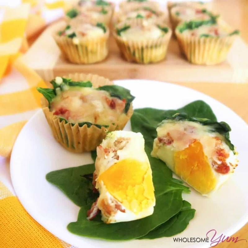 Low Carb Egg Muffins with Bacon, Spinach & Cheese (Gluten-Free)
