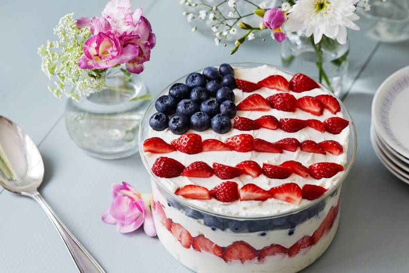 Low-carb 4th of July summer berry trifle