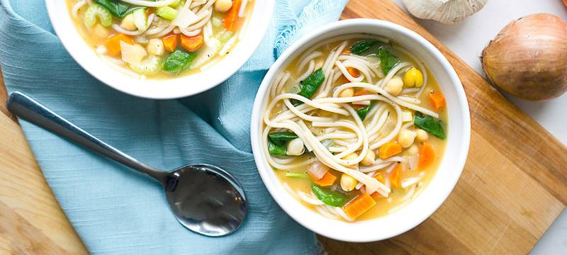 30-Minute Chickpea Noodle Soup with Spinach