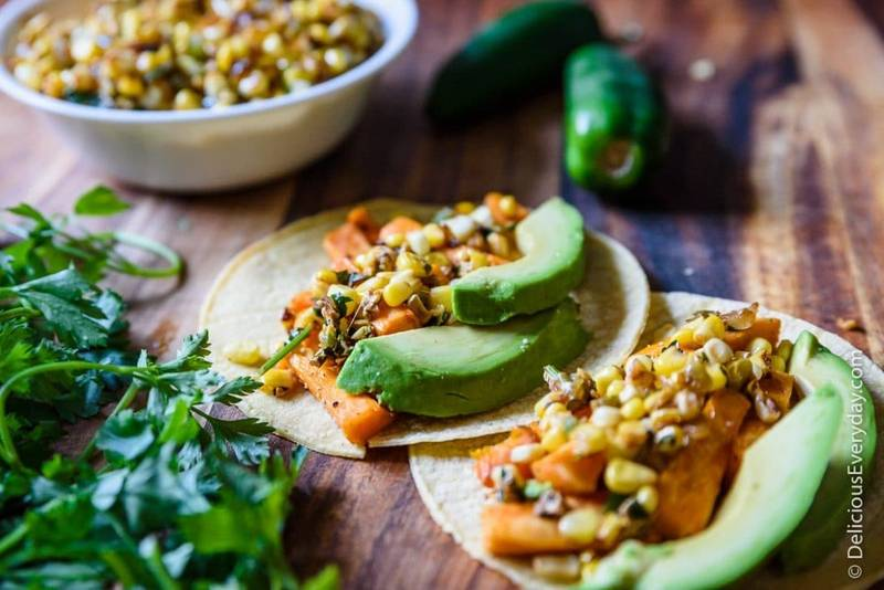 Mexican Street Corn with Roasted Sweet Potato Tacos
