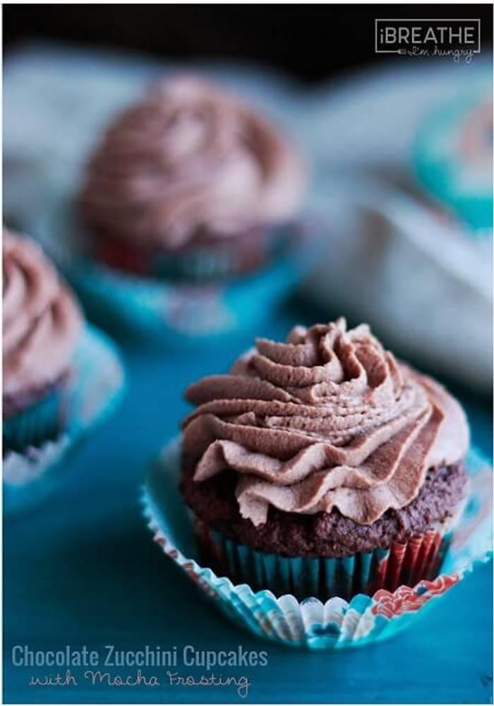 Chocolate Zucchini Cupcakes w/ Mocha Frosting - Low Carb