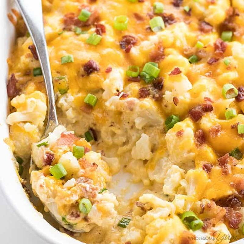 Easy Cheesy Loaded Cauliflower Casserole Recipe