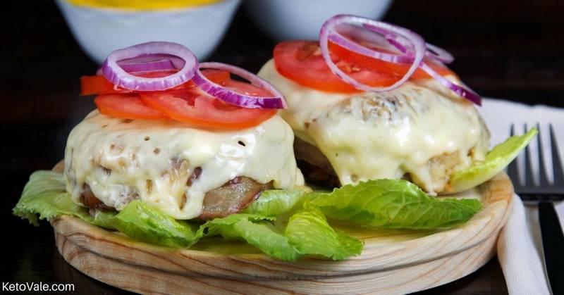 Keto Bunless Bacon Cheeseburger with Mushrooms