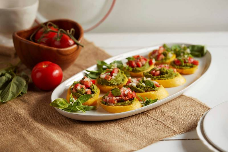 Polenta Crostini with Chickpea Pesto