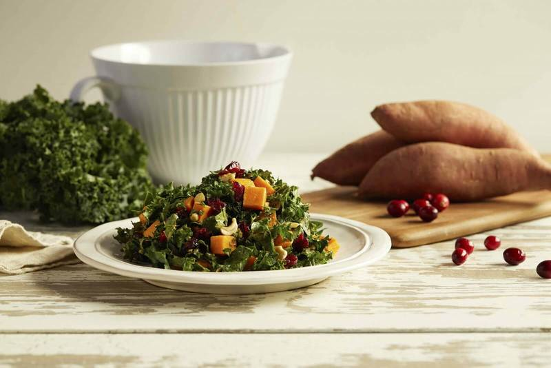 Kale and Sweet Potato Salad with Dried Cranberries