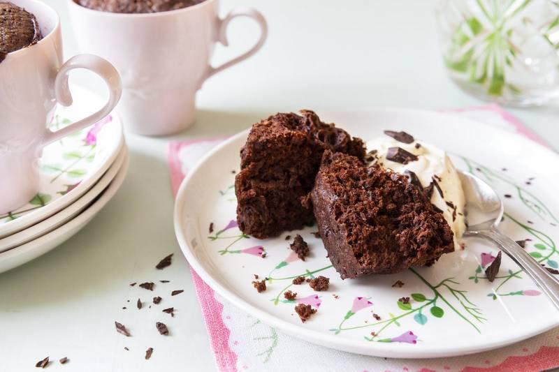 Keto chocolate muffin in a mug