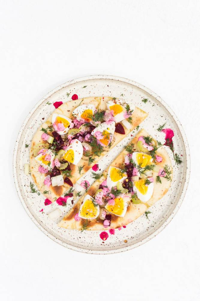 Egg Salad with Pink Mayo & Pickled Beets