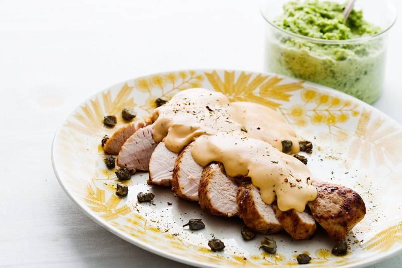 Keto turkey with cream-cheese sauce