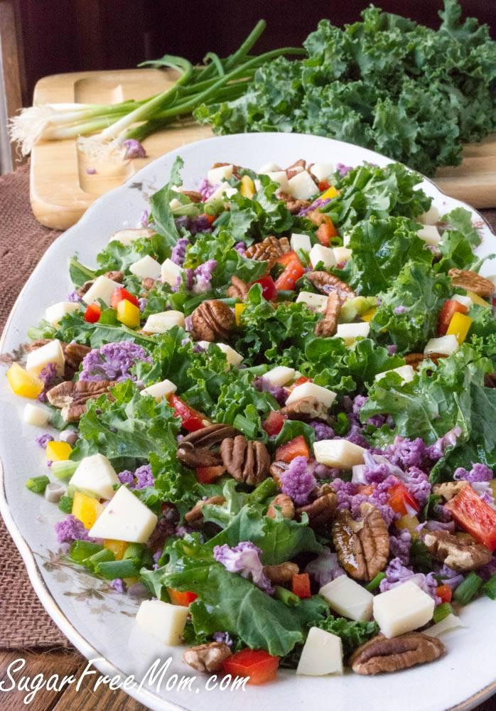 Cauliflower Confetti Kale Pecan Salad