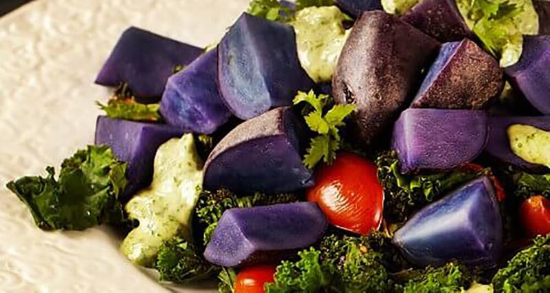 Purple Potato and Kale Salad with Cilantro-Tahini Dressing